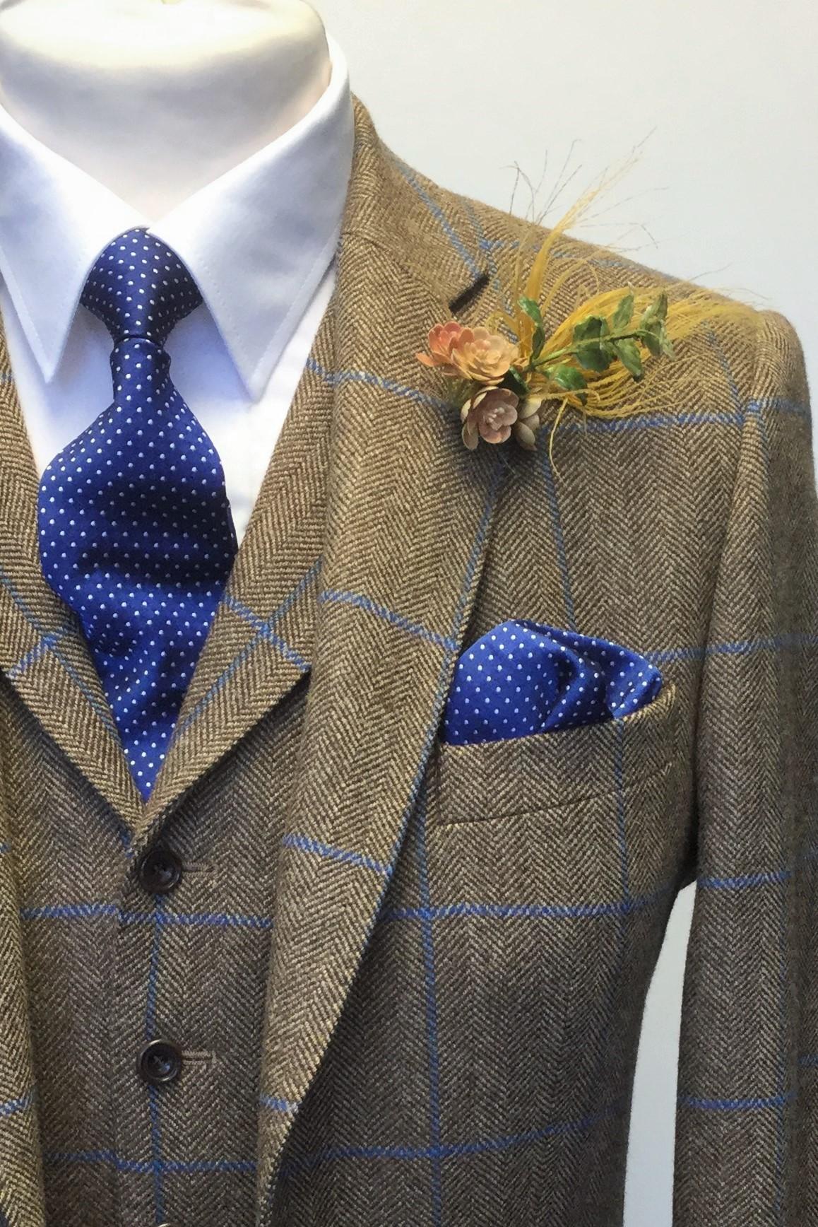 Caramel and Blue Tweed Mens Hire Wedding Suit with navy tie and handkerchief, by Black Tie Menswear, Berkshire