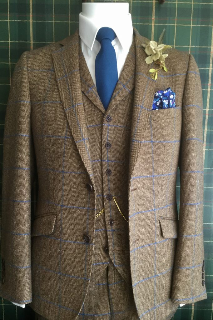 Caramel and Blue Tweed Mens Wedding Suit with navy tie and handkerchief, by Black Tie Menswear, Berkshire