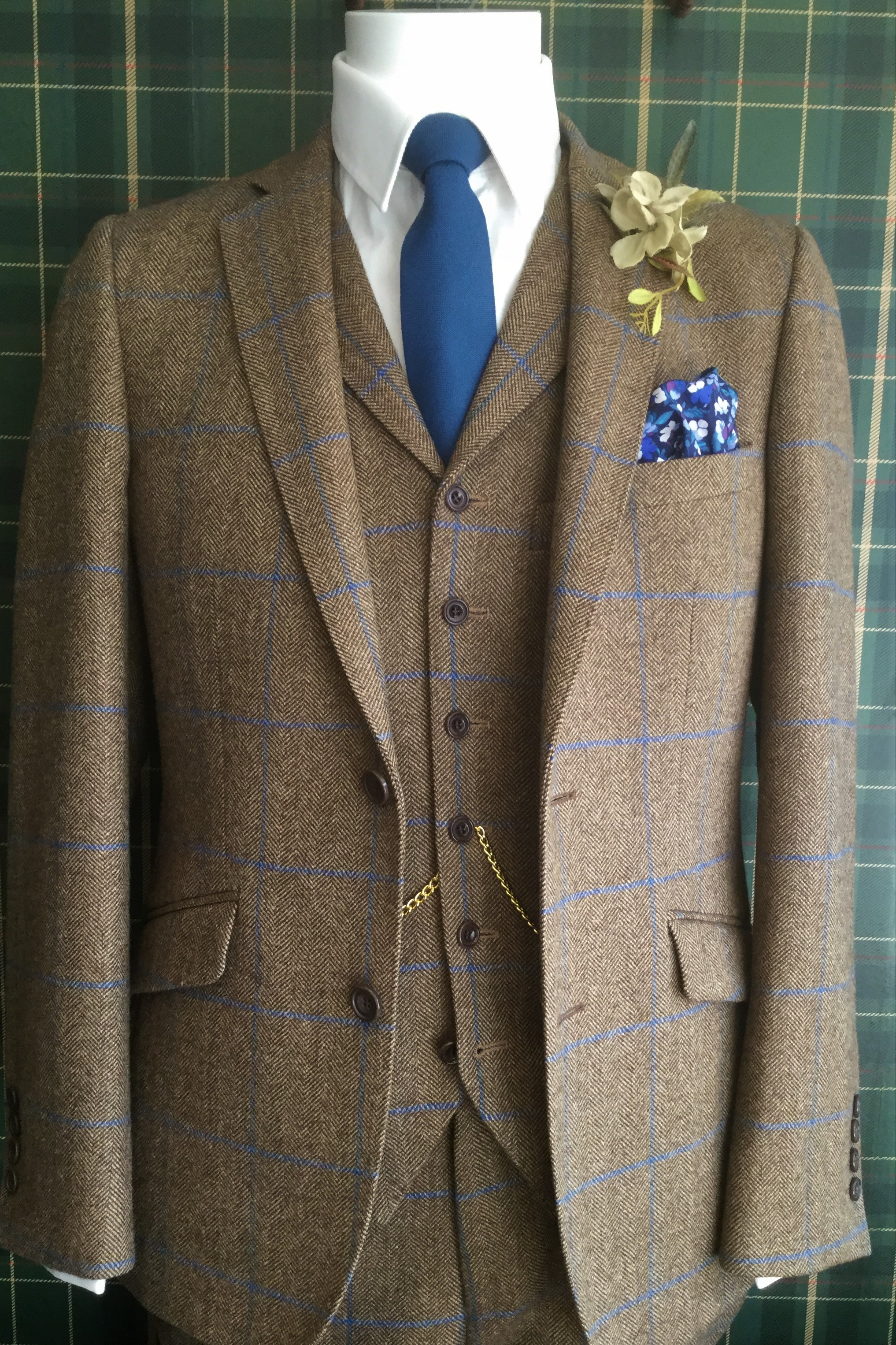 Caramel and Blue Tweed Mens Wedding Suit with navy tie and handkerchief, by Black Tie Menswear, Berkshire