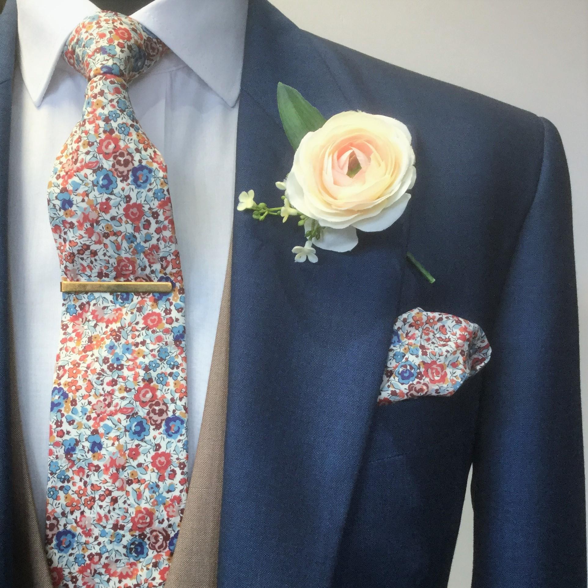 Emma & Georgina Liberty Fabric Tie & Handkerchief with Royal Blue Wedding Morning Coat