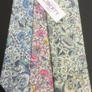 Loddon Liberty of London cotton fabric floral ties in blue, pink and grey