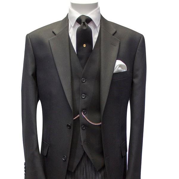 Black Masonic Three-Piece Funeral Suit by Black Tie Menswear, Berkshire