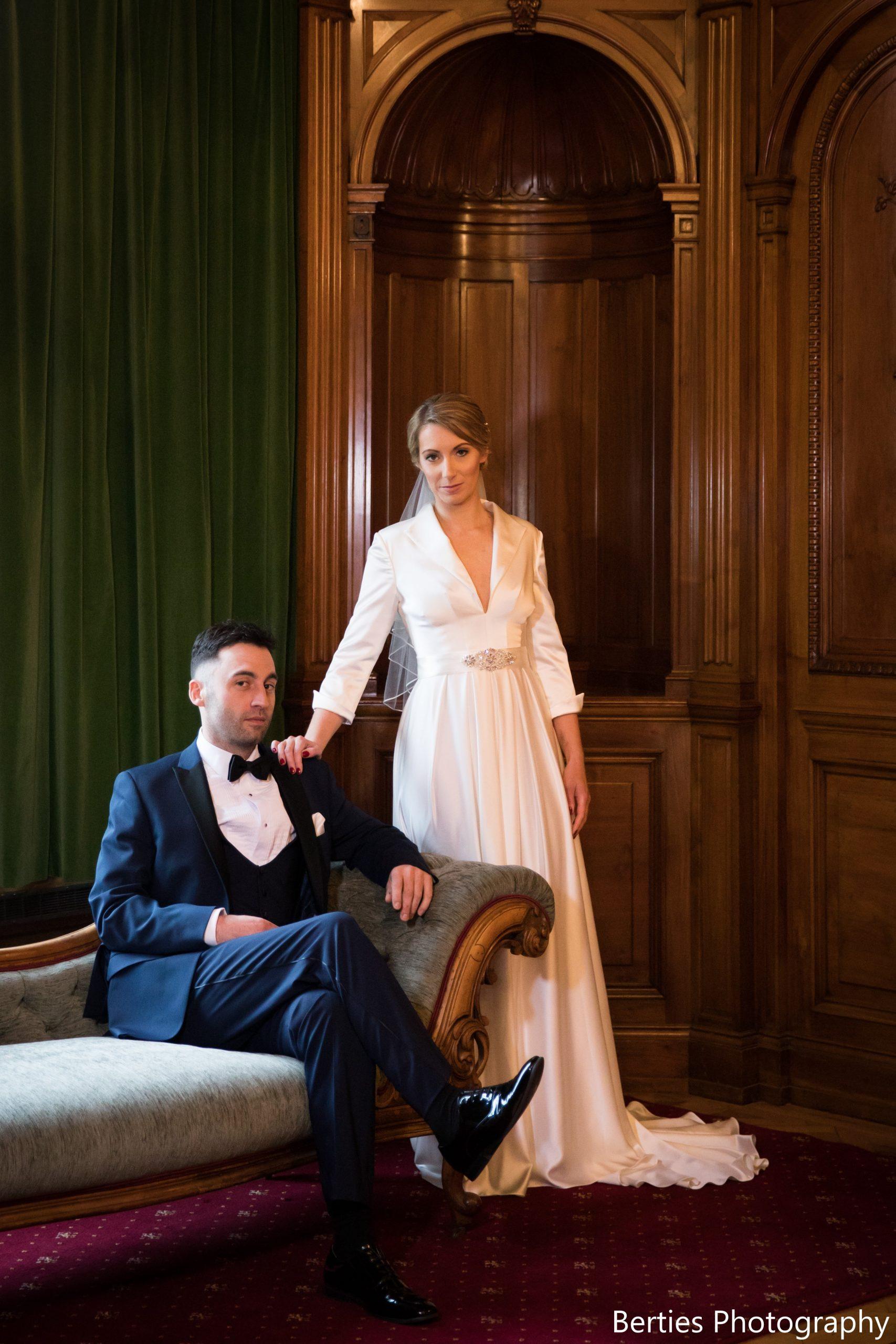 Wedding Bride and Groom in Navy Dinner Suit Tuxedo with black bow tie by Black Tie Menswear, Berkshire