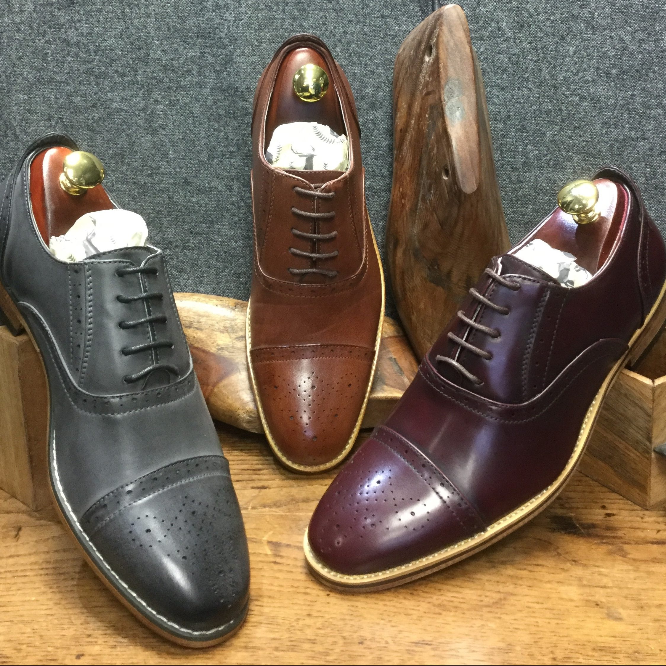 Mid-Brown, Oxblood and Grey lace-up Mens Brogue Formalwear shoes