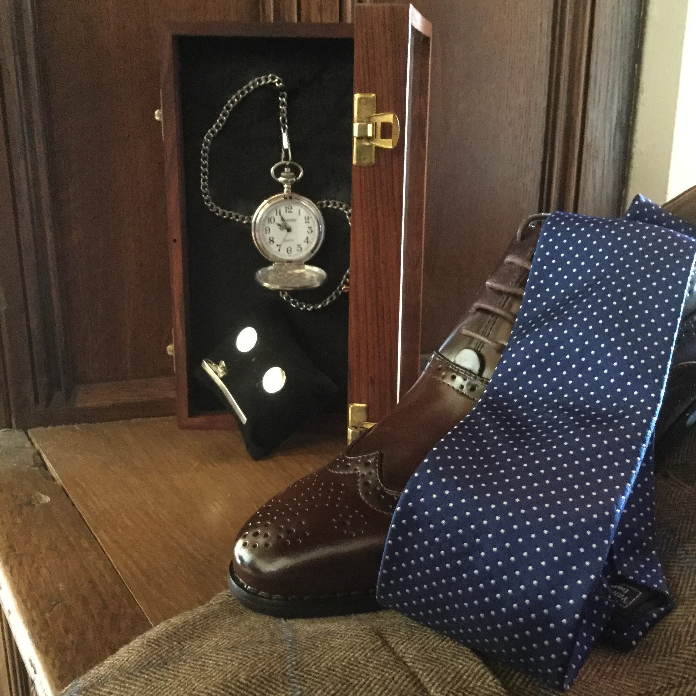 Navy Spotted Tie, Brown Brogue Shoe, Silver Pocket Watch, Tiebar and Cufflinks