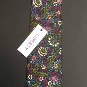 Peach Pincher Liberty of London purple floral cotton fabric tie