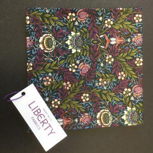 Peach Pincher Liberty of London purple floral cotton fabric handkerchief