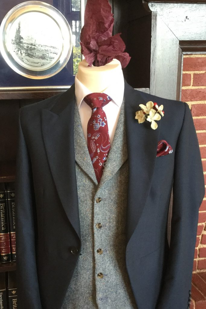 Mens Wedding Navy Tailcoat with Grey Tweed Waistcoat and Burgundy floral paisley tie