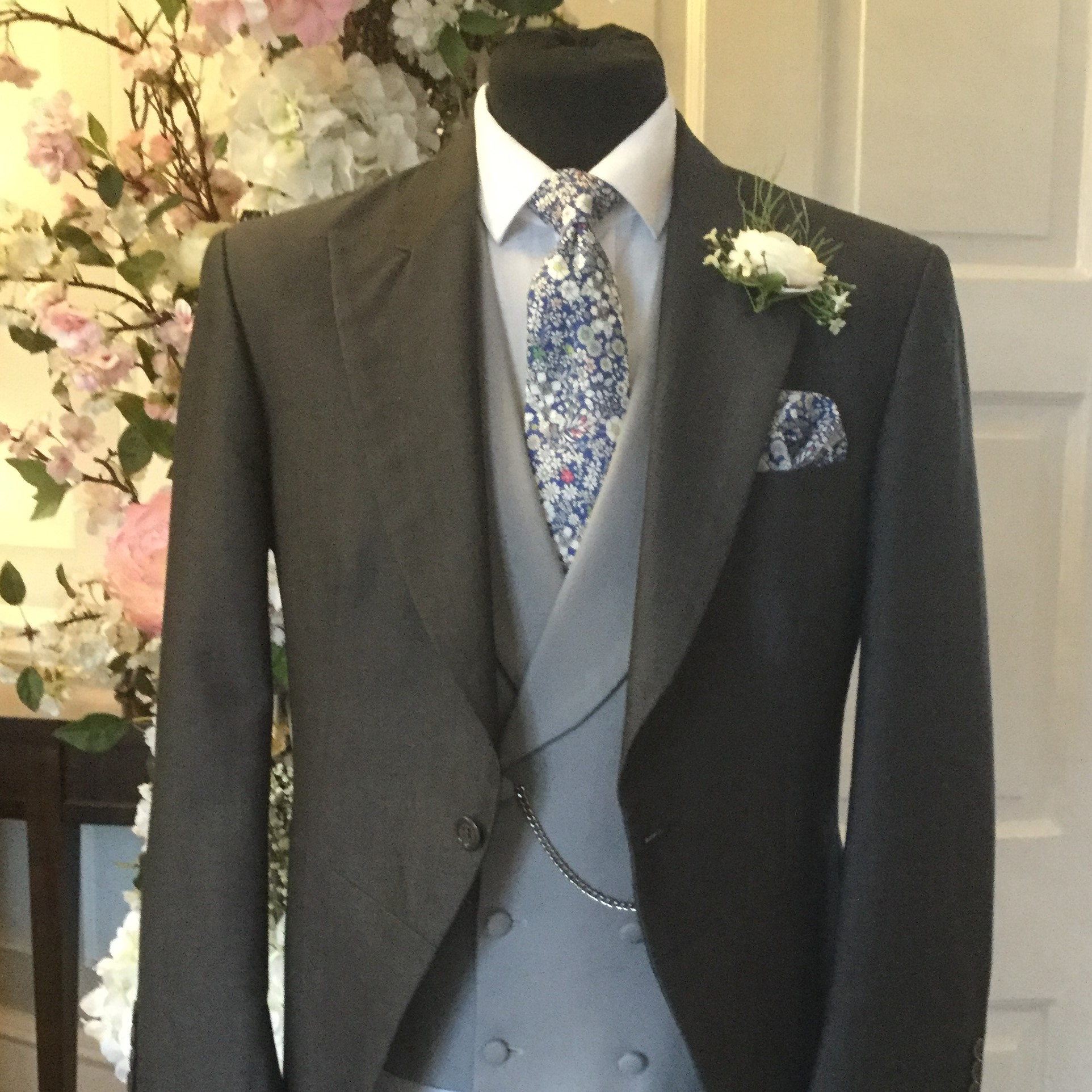 Charcoal Wedding Hire Tailcoat with Grey Double-Breasted Waistcoat and Floral Liberty Fabric tie and Handkerchief