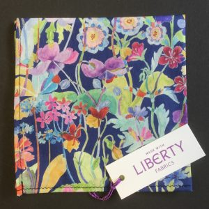 Proposal navy and green Liberty of London floral cotton fabric handkerchief