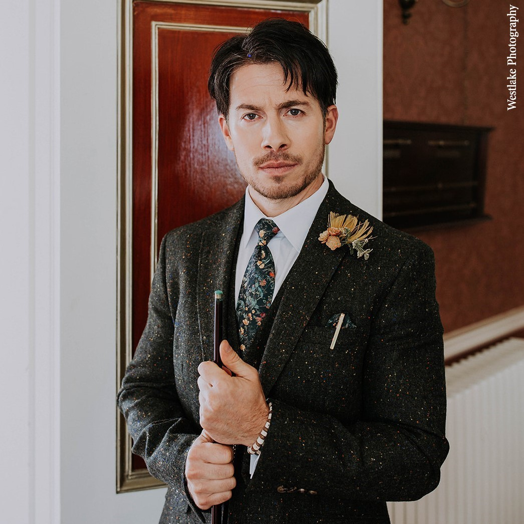 Wedding Groom in Three-piece Green Tweed Suit with Green Wild Flowers Liberty Fabric Tie and Handkerchief