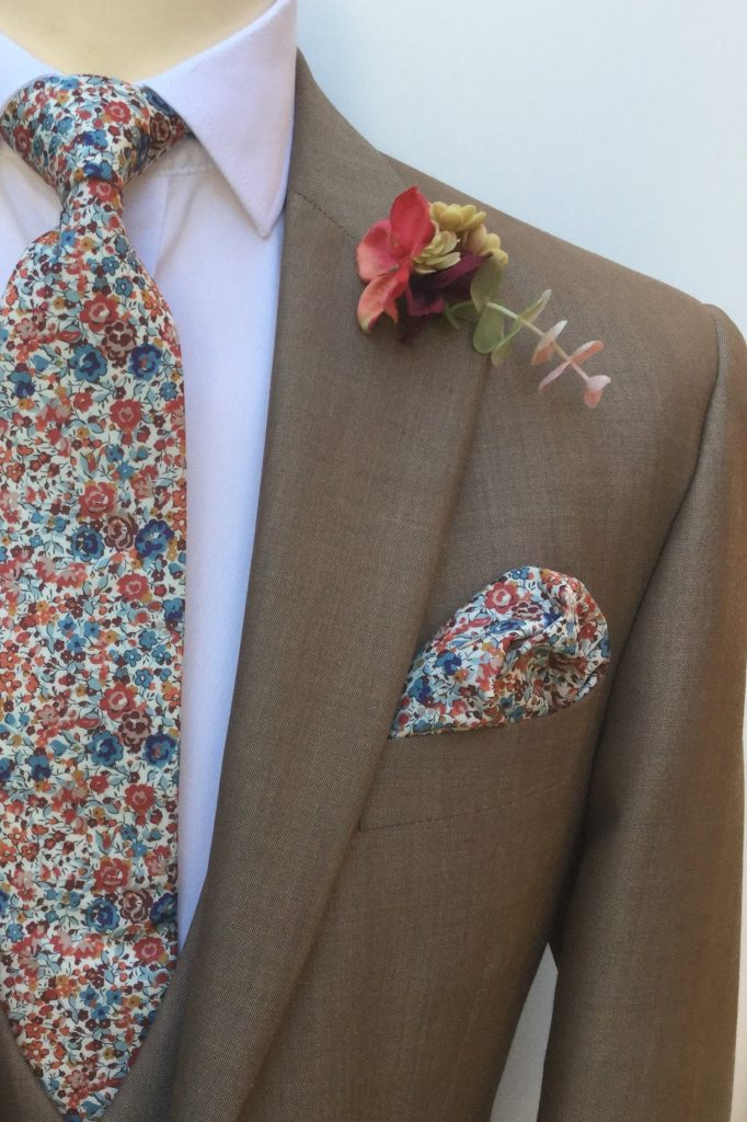 Sand Mens Wedding Hire Lounge Suit with Liberty Tie by Black Tie Menswear