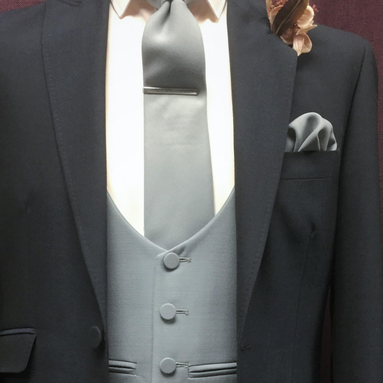 Navy Lounge Wedding Suit with Gilson Grey scoop waistcoat, tie and handkerchief