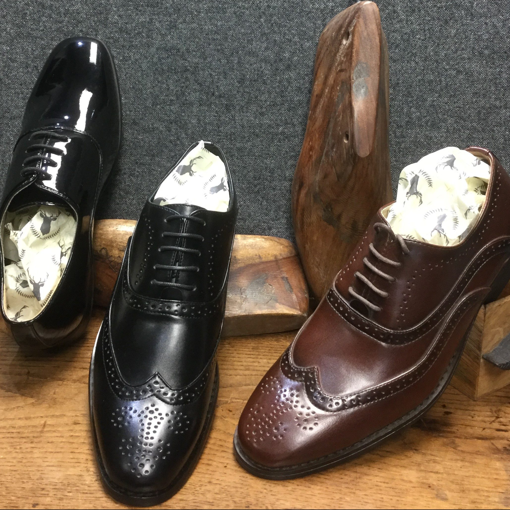 Black and Brown Brogue Formalwear Wedding Shoes and a rounded toe black patent shoe