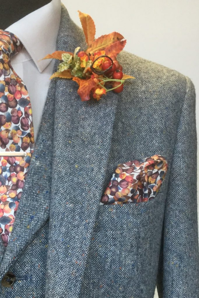 Steel Blue Tweed Mens Wedding Hire Suit with Liberty tie