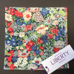 Thorpe Green and Blue Liberty of London floral cotton fabric handkerchief