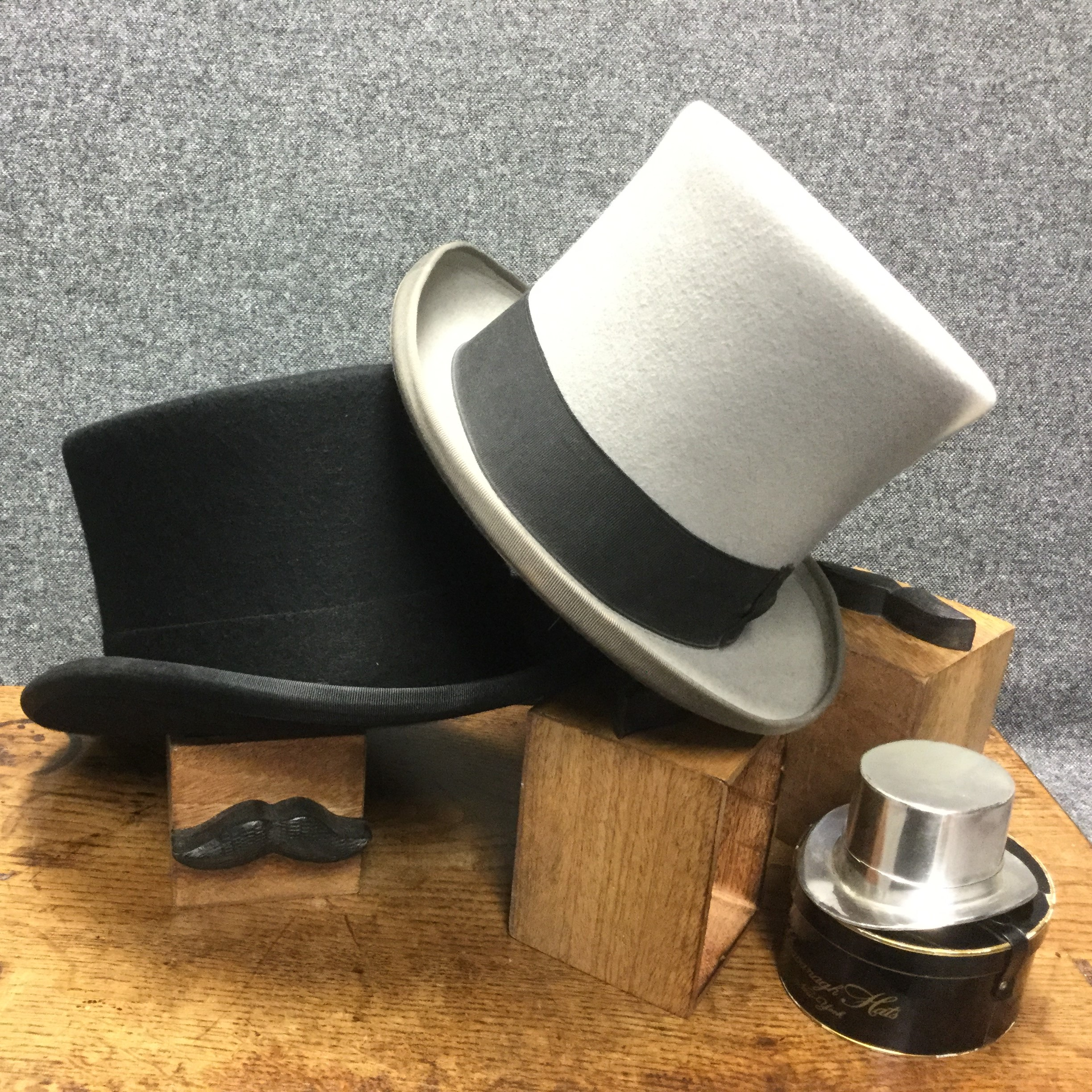 Black and Grey Formal Wear Top Hats for Royal Ascot and Weddings