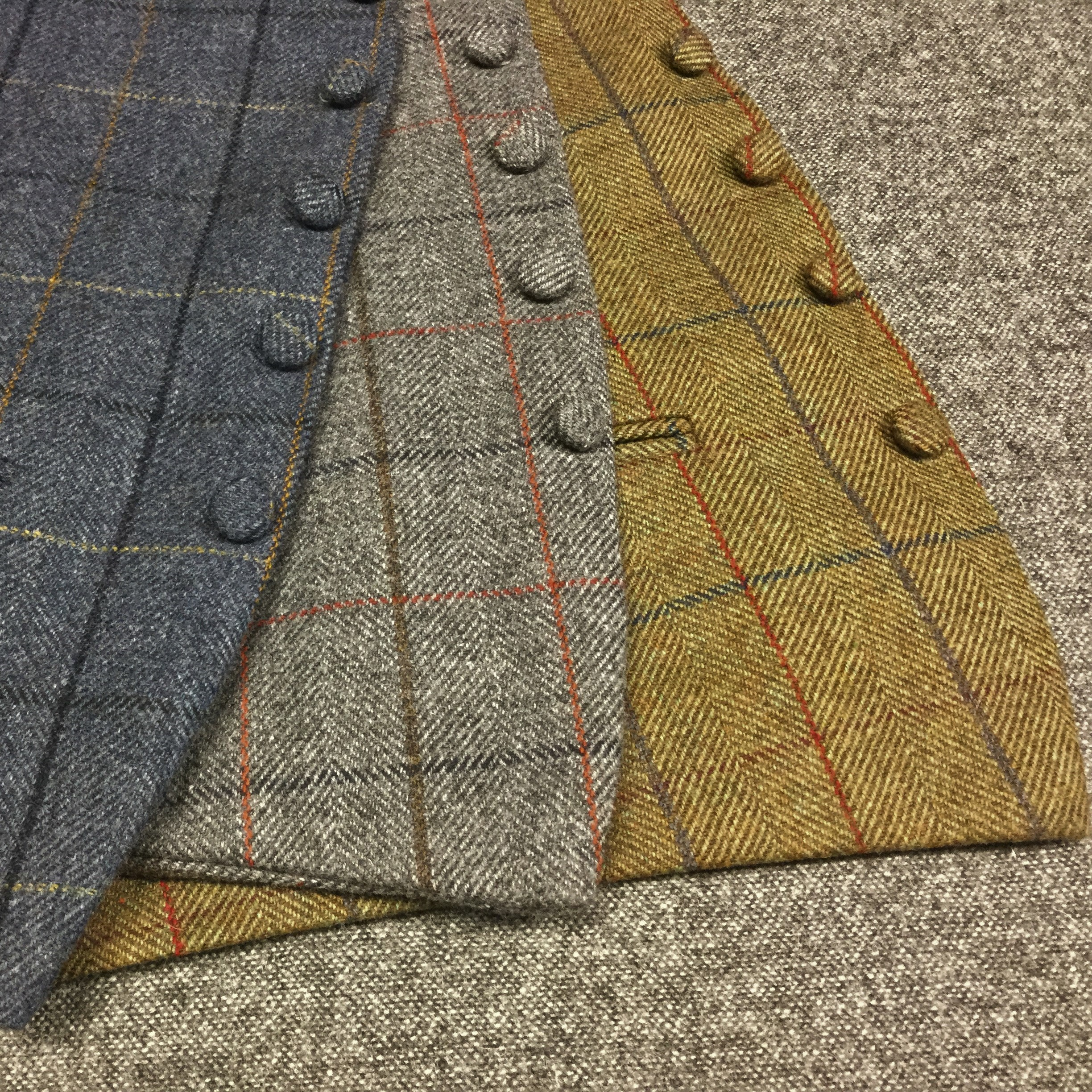 Check Tweed Waistcoats for Weddings in Blue, Grey and Green Check
