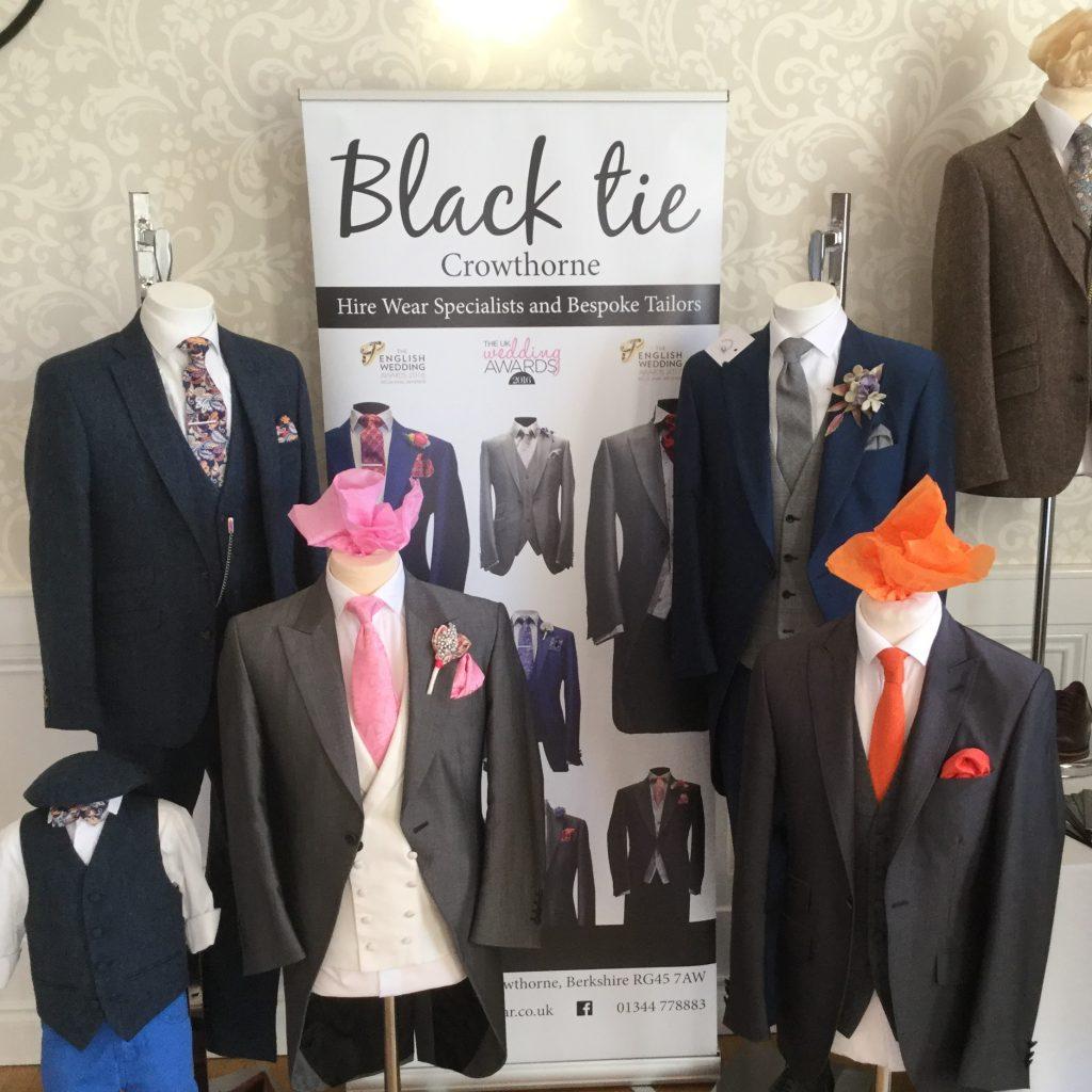 Black Tie Menswear Wedding Fair event featuring charcoal grey, navy tweed and childrens wedding suits