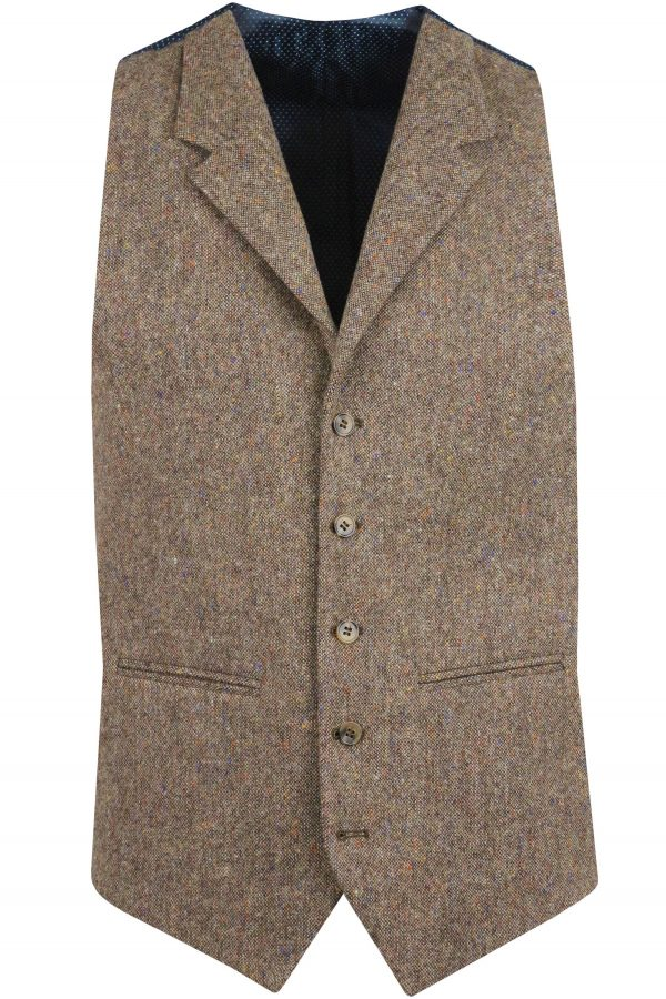 Brown Donegal Tweed Suit Waistcoat