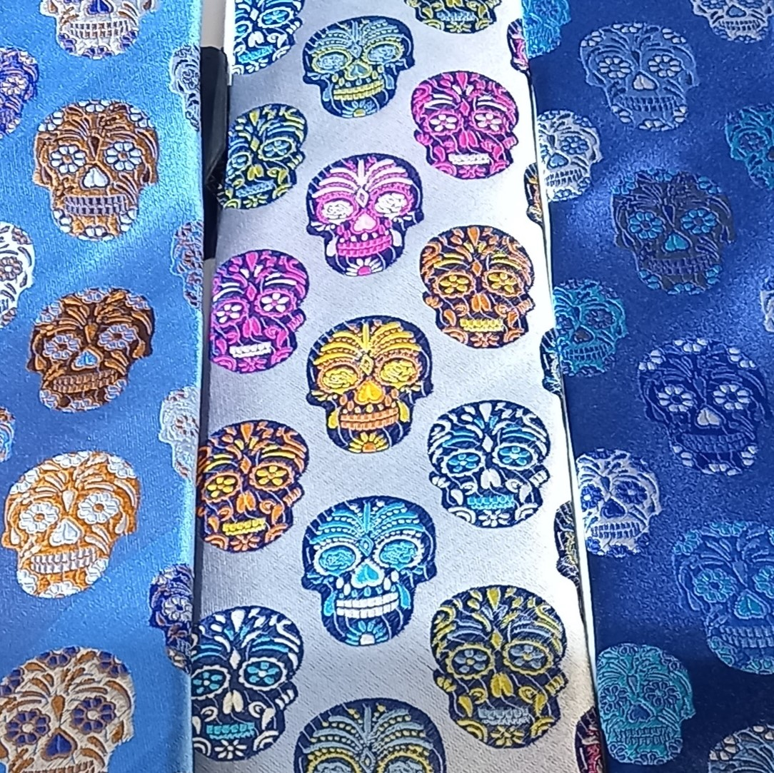 Limited Edition mens silk day of the dead skull ties in navy, gold, silver and more