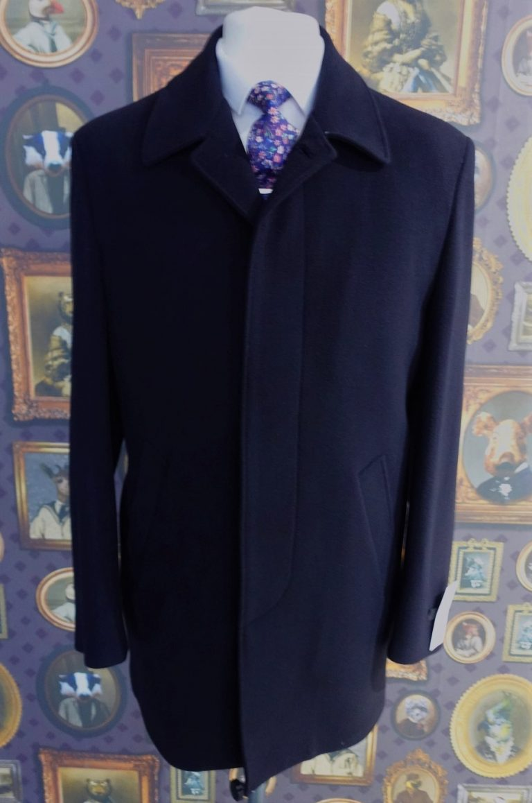 Mens Wool Navy Winter Car Coat with button through and fly front