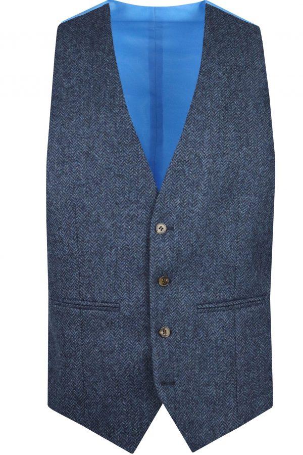Navy Herringbone Tweed Mens Wedding Suit Waistcoat by Black Tie Menswear, Berkshire