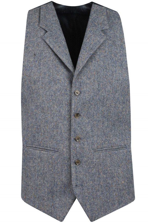 Steel Blue Tweed Mens Wedding Suit Waistcoat by Black Tie Menswear, Berkshire
