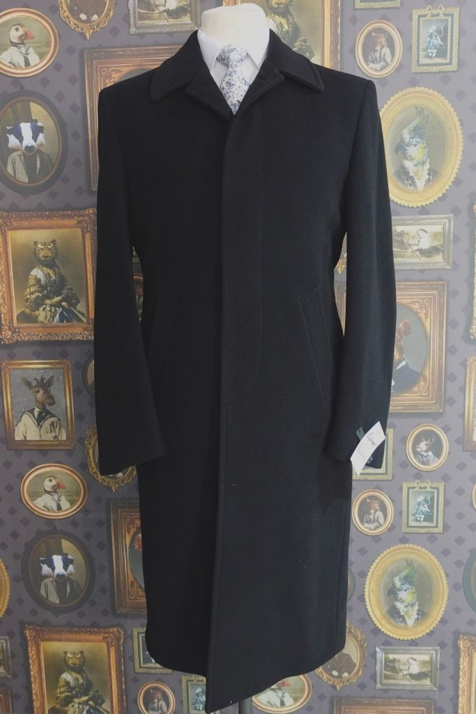 Mens Black Wool Winter Overcoat, full length, with button fly front and centre vent