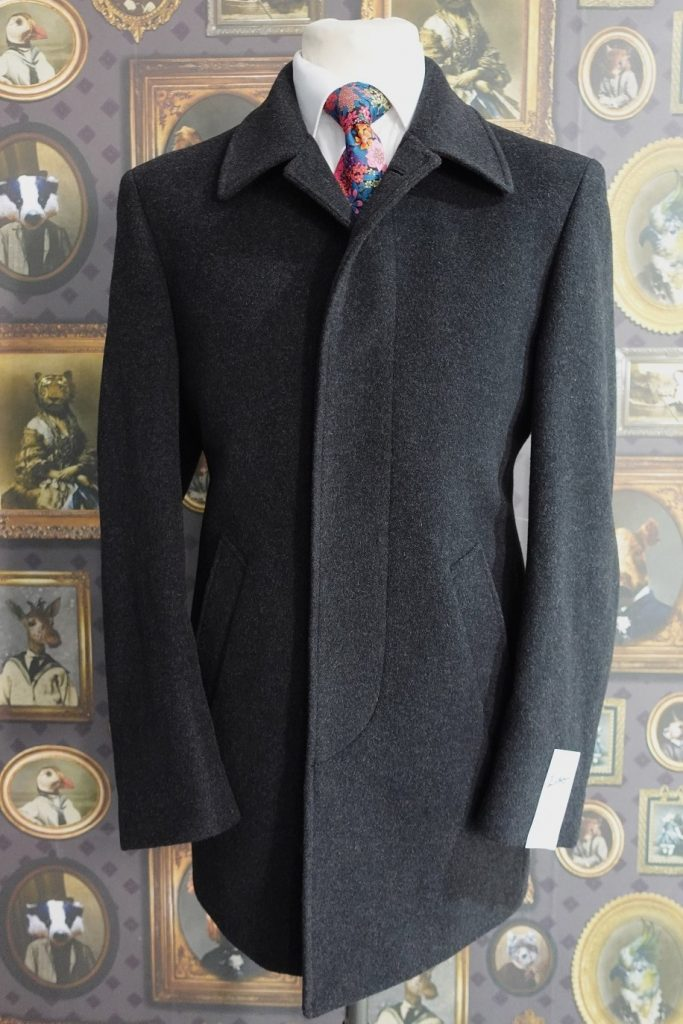 Charcoal Grey Mens Wool Winter Car Coat with button through with fly front
