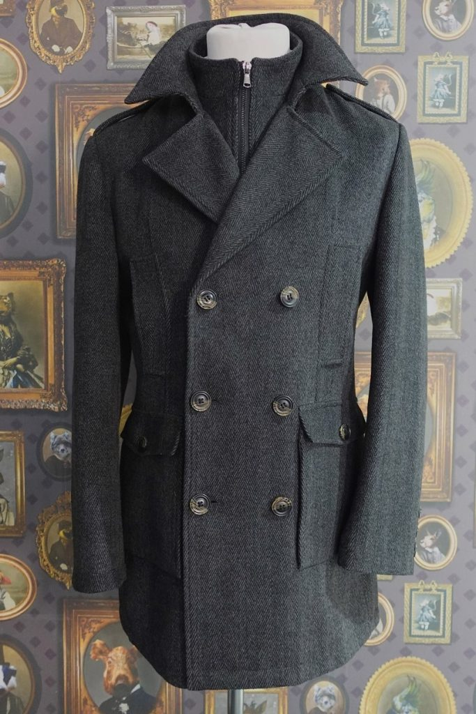Grey Herringbone Mens Winter Double Breasted Pea Coat featuring a half belt and detachable storm insert