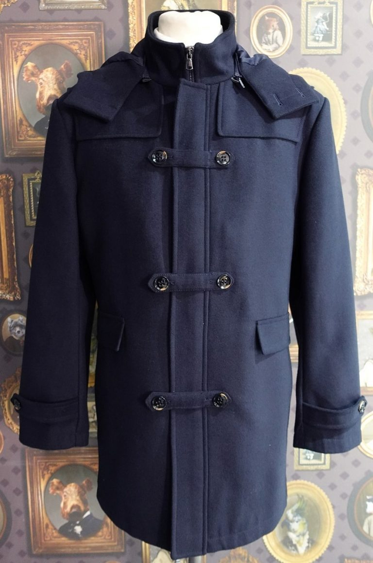 Mens Winter Navy Duffle Coat with detachable hood and button fastening.