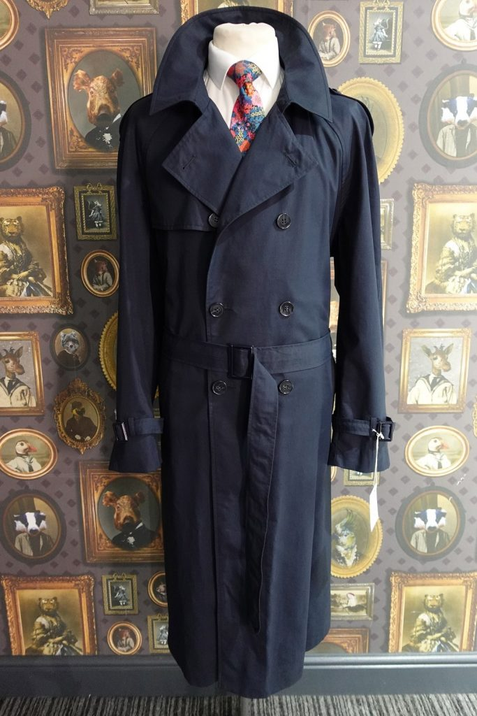 Mens Winter double breasted Navy Raincoat with belt