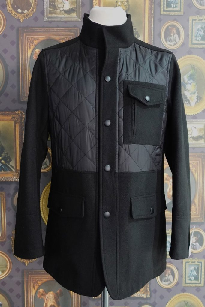 Mens Winter Black Quilted Casual Jacket with Zip and popper front