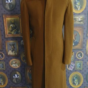 Full Length Mens Wool Winter Overcoat in Tobacco brown with button fly front