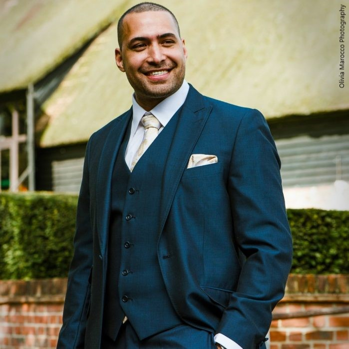 Wedding Groom in Navy Lounge Hire Suit