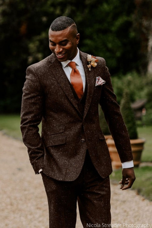 Wedding Groom in Brown Donegal Tweed Hire Suit