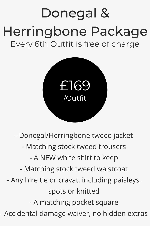 Donegal & herringbone blue, grey, brown tweed wedding suit hire pricing list