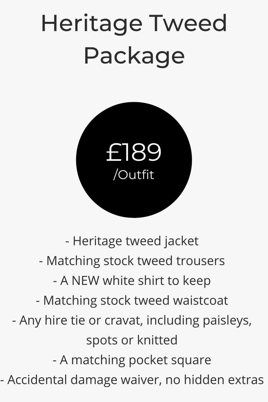Heritage blue, grey, brown tweed wedding suit hire pricing list