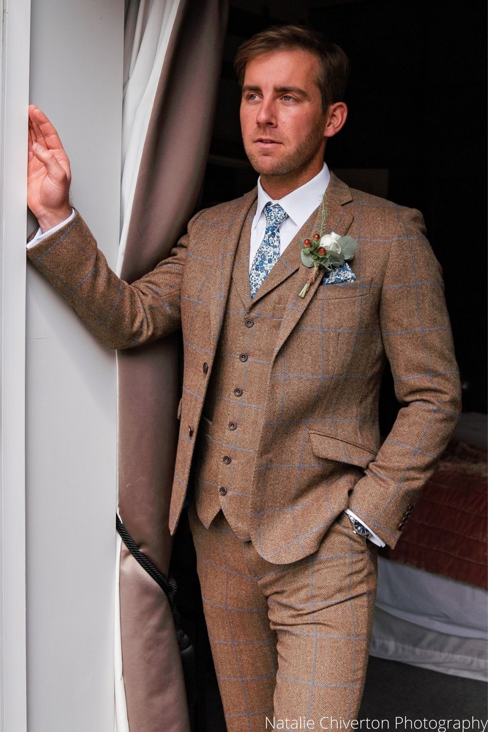 Wedding Groom in Caramel and Blue Check Tweed Hire Suit