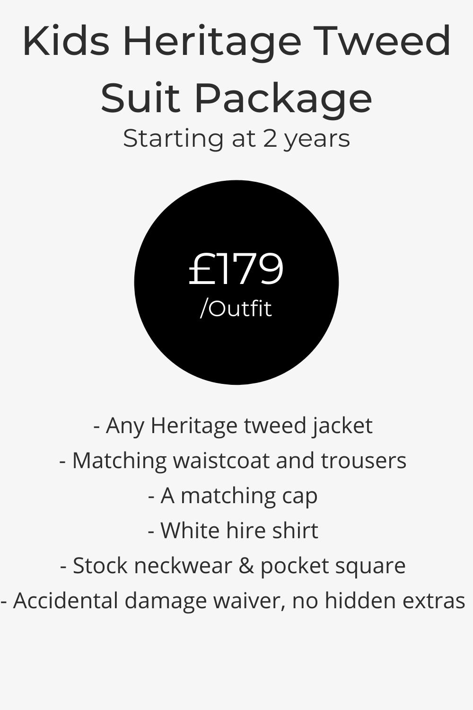 kids heritage brown, grey, blue tweed wedding hire suit pricing list