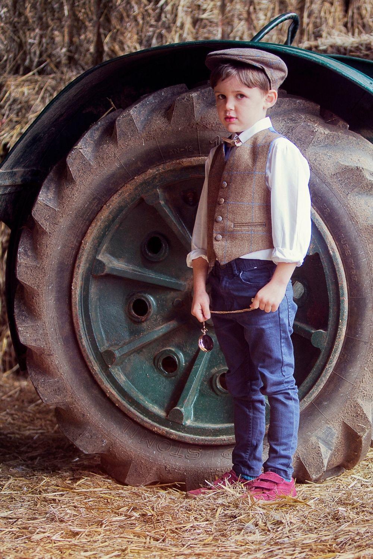 Pageboy in Kids Tweed Waistcoat and Cap