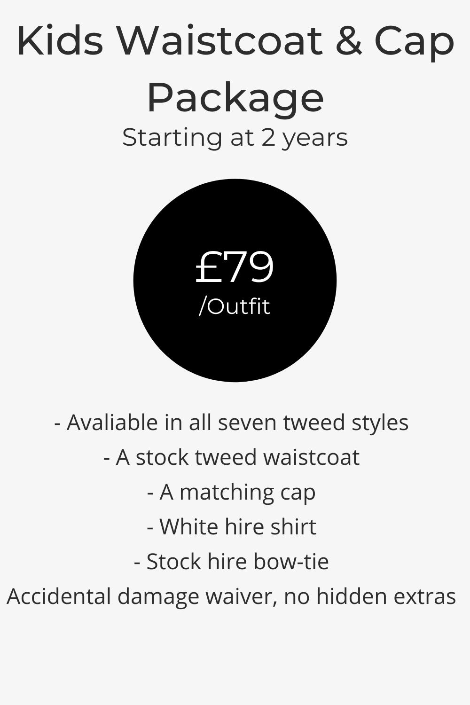 kids tweed waistcoat wedding hire pricing list