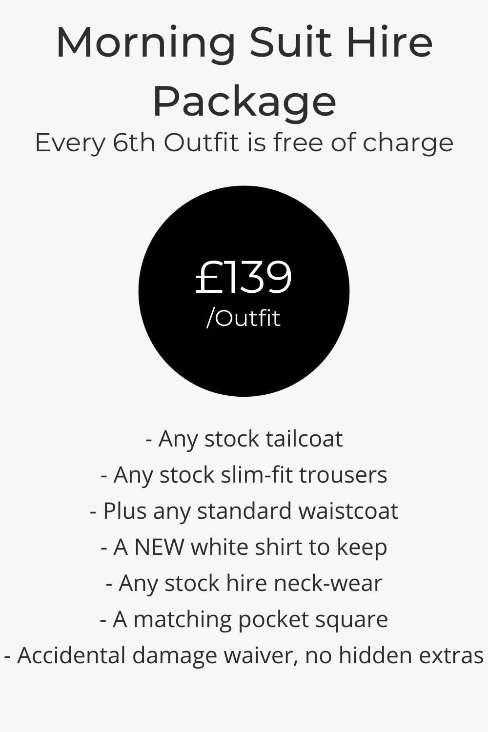 Wedding Morning Suit Hire Pricing List