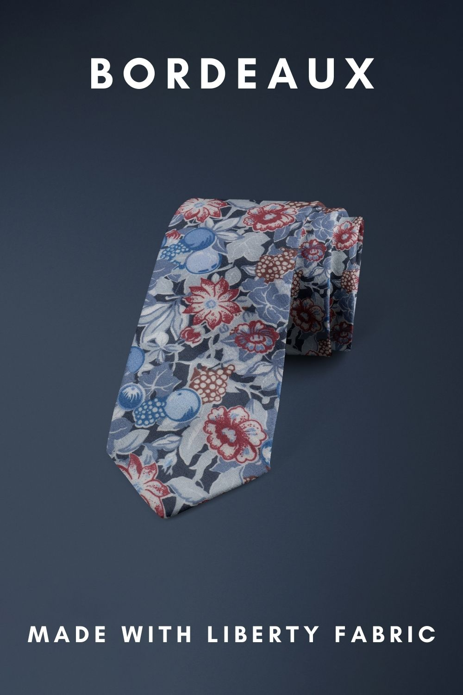 Bordeaux Liberty of London cotton fabric floral tie
