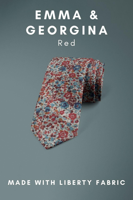 Emma & georgina Red Liberty of London cotton fabric floral tie