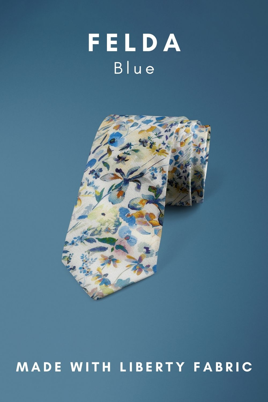 Felda Blue Liberty of London cotton fabric floral tie