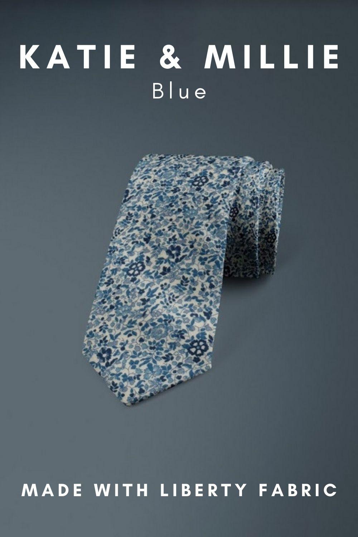 Katie & Millie Blue Liberty of London cotton fabric floral tie