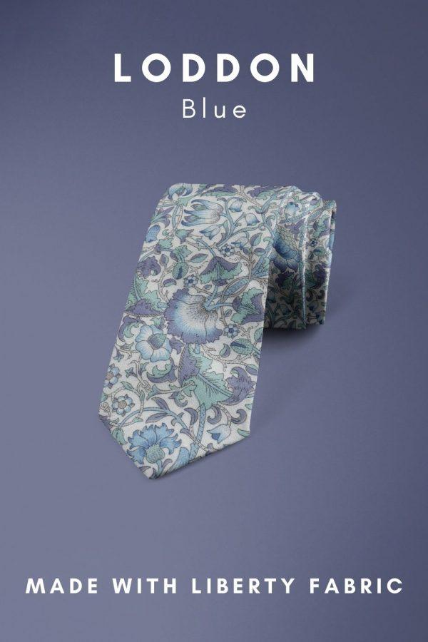 Loddon Blue Liberty of London cotton fabric floral tie