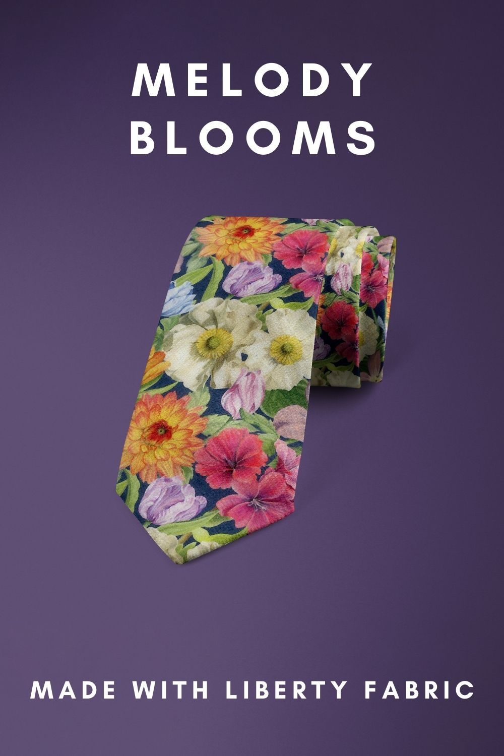 Melody Blooms Liberty of London cotton fabric floral tie